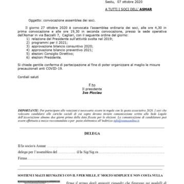 Convocazione assemblea dei soci A.S.M.A.R il 27 ottobre 2020
